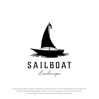 交通機関のロゴ、旅行、風景などの創造的なヨットのロゴ