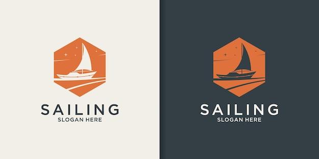 Creative sailing logo design on hexagon, summer
