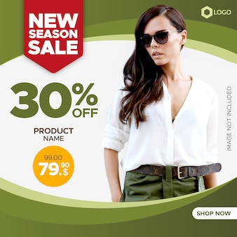 Creative sale banner with empty frame for web and social media