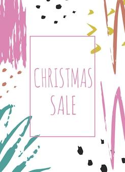 クリエイティブセールホリデーウェブサイトバナーテンプレート。ソーシャルメディアのバナー、ポスター、電子メールやニュースレターのデザイン、広告、販促資料のクリスマスと新年の手描きイラスト。