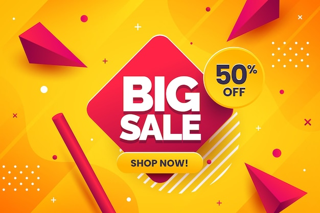 Creative sales banner with abstract details