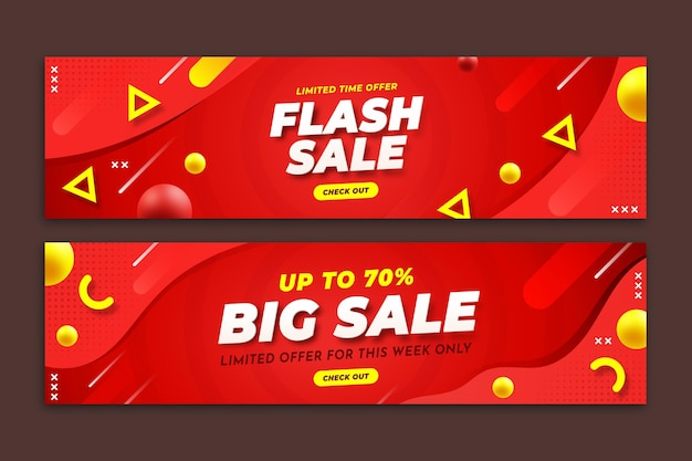 Creative sales banners with abstract details