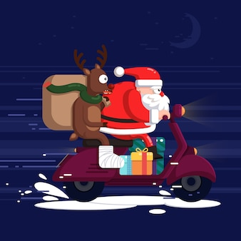Creative santa claus and reindeer