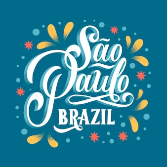 Creative sao paulo lettering with colored ornaments
