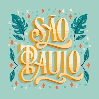 Creative sao paulo lettering with leaves