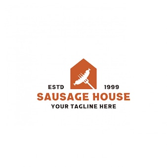 Креативный дизайн логотипа колбасного дома