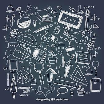 Creative school elements in chalkboard style