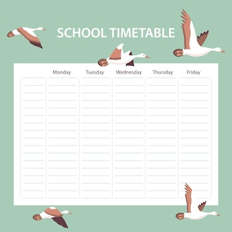 Creative school schedule card with birds