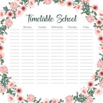 Creative school schedule card with flower arch and leaves