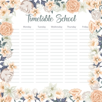 Creative school schedule card with flowers and leaves