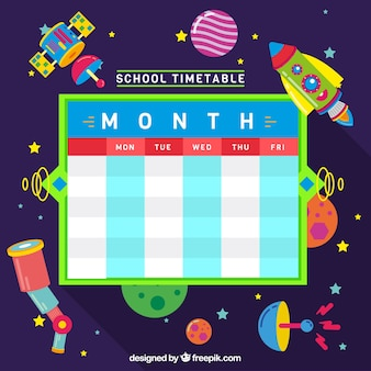 Creative school schedule with space elements