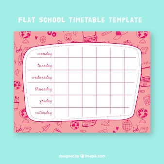 Creative school timetable template