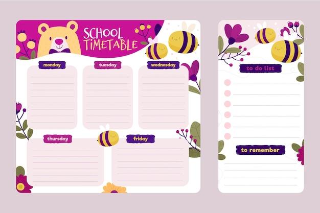 삽화가있는 창조적 인 학교 시간표