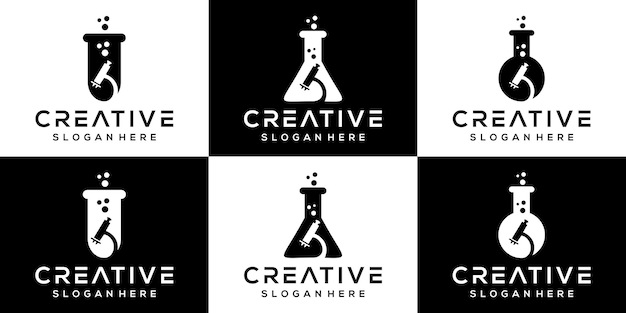 Creative science laboratory logo icon set logo design