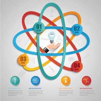 Creative science symbol template for infographic vector 4 options.