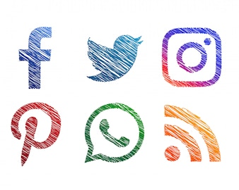 Creative scribble sketch style social media icons