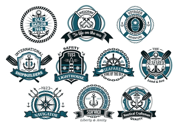 Creative seafarers or nautical logos and banners with rope, anchor, trident, helm, chains, life buoy and oar