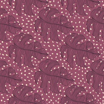 Creative seamless doodle pattern with stylized monstera ornament.