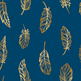 Creative seamless pattern from golden feathers