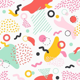 白地に色とりどりの染み、線、さまざまな質感の形をしたクリエイティブなシームレスパターン