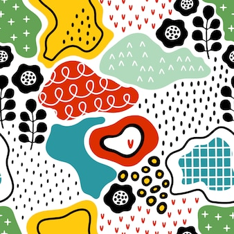 Creative seamless pattern with hand drawn textures