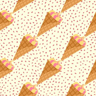 Creative seamless pattern with ice cream. frozen cream in waffle cone on white background with dots.
