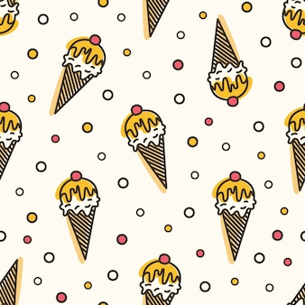 Creative seamless pattern with ice cream in wafer, waffle or sugar cone