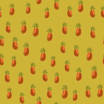 Creative seamless pattern with little pineapples silhouettes print. tropic food print