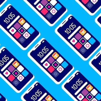 파란색 배경에 반복 휴대 전화와 크리 에이 티브 원활한 패턴