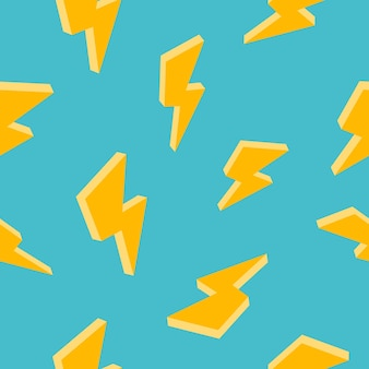 Creative seamless pattern with yellow lightning on green background