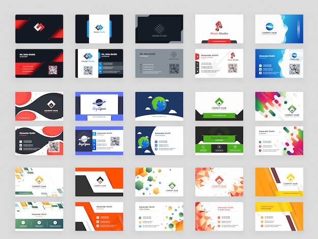 Creative set of 15 horizontal business card template