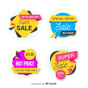 Creative set of abstract sale banners