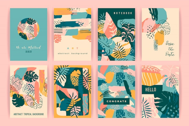 Creative set of cards with tropical plants and artistic background.