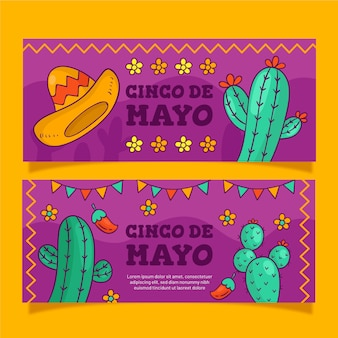 Creative set of cinco de mayo banners