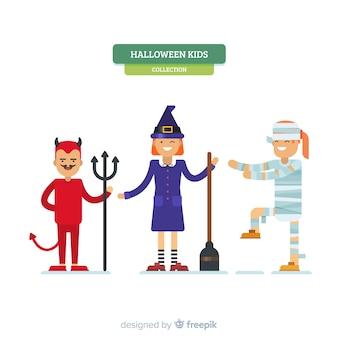 Creative set of halloween kids characters