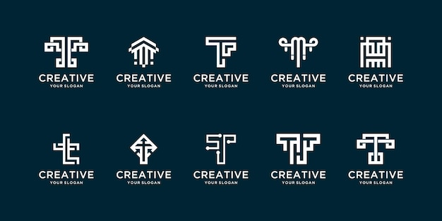 Creative set of initial t letter logos
