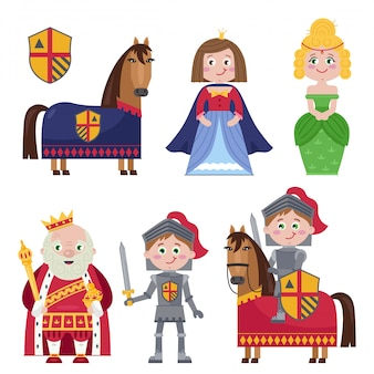 Creative set of medieval characters