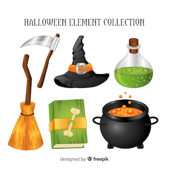 Creative set of halloween elements