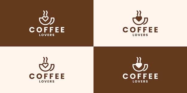 사랑 커피 로고 디자인의 크리에이 티브 세트
