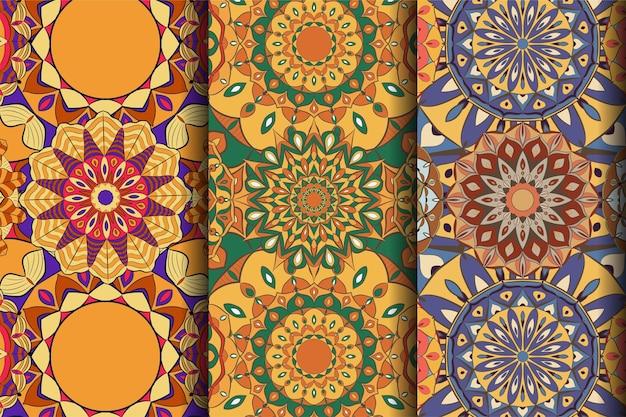 シームレスパターン曼荼羅アートのクリエイティブセット
