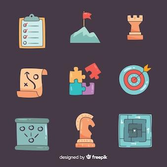 Insieme creativo di elementi di pianificazione