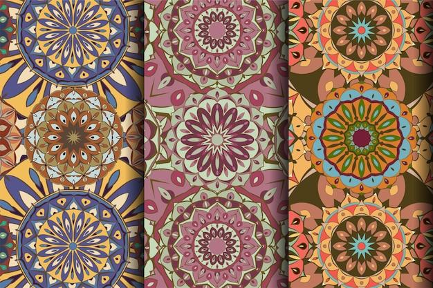 Creative set of seamless pattern mandala art