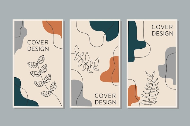 Creative set vector of social media stories line arts tropical leaves warm color of the earth tone