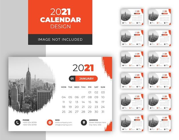 크리 에이 티브 모양 비즈니스 데스크 캘린더 템플릿 2021