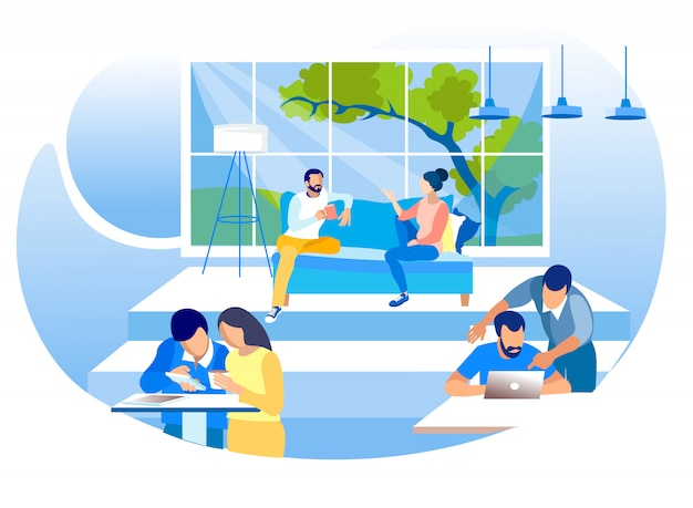 Creative shared coworking workplace flat illustration