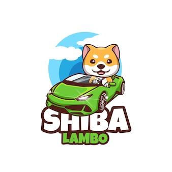 Творческий шиба ину дож суперкар lamborghini талисман дизайн логотипа иллюстрация