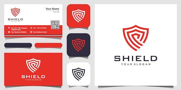 クリエイティブシールドコンセプトのロゴデザインテンプレート。名刺デザイン