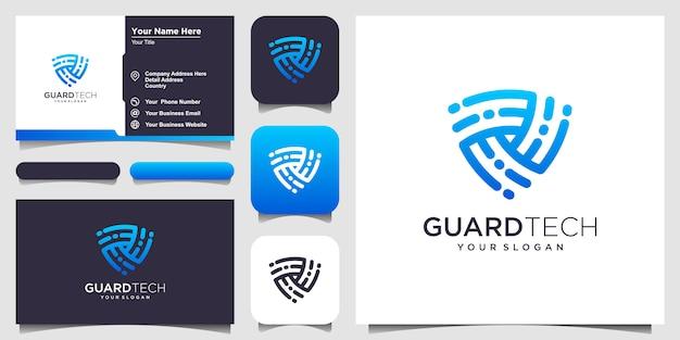 クリエイティブシールドコンセプトのロゴデザインテンプレート。ロゴと名刺デザイン
