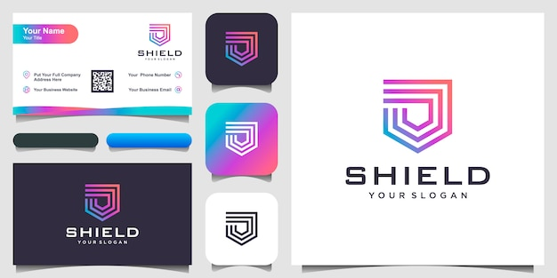 Creative shield concept logo  templates.  and business card