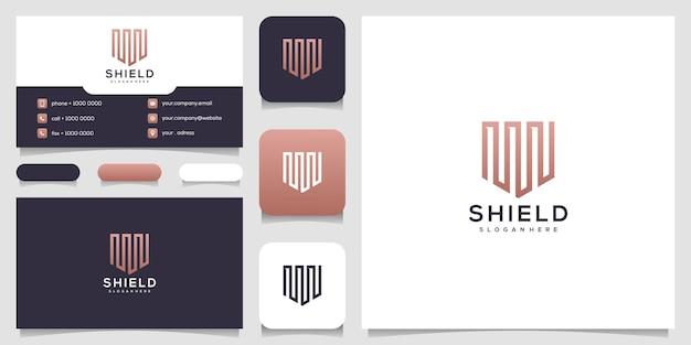 Шаблоны концепции творческого щита. значок и визитная карточка